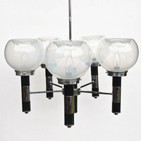 Vintage Ceiling Lamp / Five Bulbs Chandelier / Pendant Light / Murano Blown Glass / 70s Italy