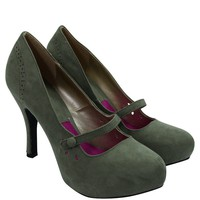 60's Retro Vintage Pinup Mary Jane Olive Vegan Suede Cut Out Pumps
