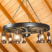 Large Wagon Wheel Chandelier with Antique Rustic Lanterns