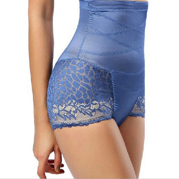 Women's Lace Side Shapewear Brief High Waist Sheer Firm Control Shaper Panties = 1715457540