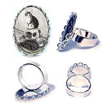 Witch's Kittens Ring Tabby Cats Ring Vampire Skull Gothic Cat Art Silver Cameo Ring 25x18mm Gift for Cat Lovers Jewelry