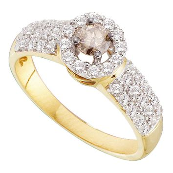 14kt Yellow Gold Womens Round Cognac-brown Color Enhanced Diamond Solitaire Halo Bridal Wedding Engagement Ring 3/4 Cttw