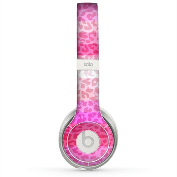 The Hot Pink Striped Cheetah Print Skin for the Beats by Dre Solo 2 Headphones