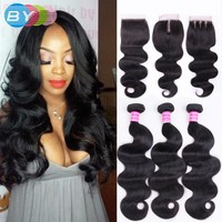BY Hair Peruvian Body Wave 3 Bundles With Closure Remy Human Hair Bundles With Closure Peruvian Hair Bundles With Closure