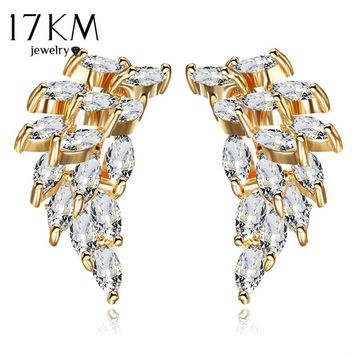 17KM Luxury Cubic Zircon Wing Shape Earrings For Women 2017 New Vintage Lady Silver Color Stud Earrings Party Wedding Jewelry