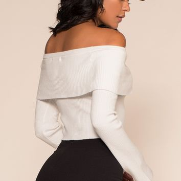 Piper Off The Shoulder Sweater - White