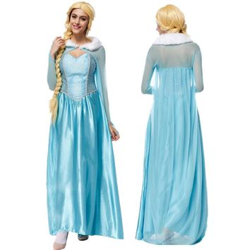 Vocole High Quality Movie Elsa Princess Cosplay Clothing Cinderella Fancy Dress Adult Women Ball Gown Halloween Costume