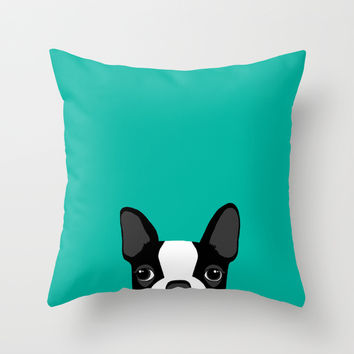 Boston Terrier Throw Pillow by Anne Was Here