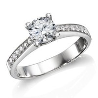 Certified, Round Cut, Solitaire Diamond Ring in 14K Gold / White (1/2 ct, E Color, VS2 Clarity): Jewelry: Amazon.com