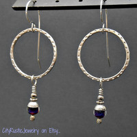 Sterling Silver Textured Hoop Earrings with Lampwork Millefiore Glass Beads Red and Blue