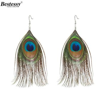 Bestessy Fashion Jewelry Earrings For Women Boho Charming Earring Simple Peacock Feather Vintage Long Dangle Earrings Jewellry