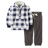 Carter's Buffalo Plaid Microfleece Pullover & Pants Set - Baby