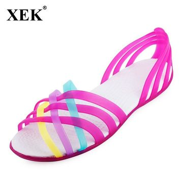 Women Sandals 2017 Summer New Candy Color Women Shoes Peep Toe Stappy Beach Valentine Rainbow Croc Jelly Shoes Woman Flats XC34