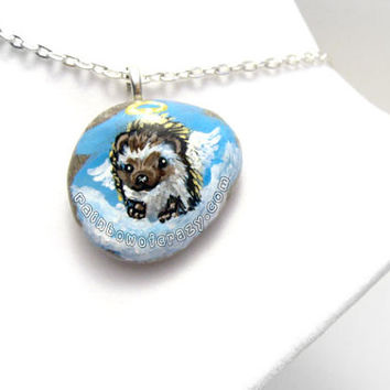 Hedgehog Necklace, Pet Loss Pendant, Angel Accessory, Hand Painted Jewelry, Beach Stone Art, In Memory, Pet Memorial Gift