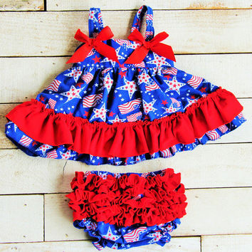 Baby Girl 4th of July Outfit - Swing Top Set - Flag - First Fourth of July - Tutu Dress - Photo Prop - Bloomers -Necklace - Bow - Set