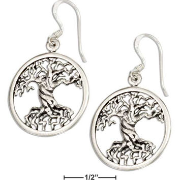 STERLING SILVER ROUND TREE OF LIFE EARRINGS WITH TWISTED TRUNK
