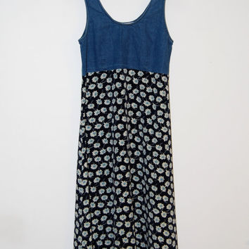 Vintage 1990's Denim Floral Maxi Grunge Jumper Dress - Ultimate Blues