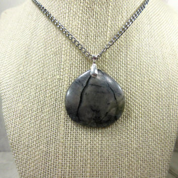 Gray Marble Necklace, Picasso Marble Pendant, Guy Necklace, Black and Gray Stone Necklace,