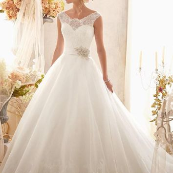 Mori Lee 2607 Lace Sleeve Ball Gown Wedding Dress