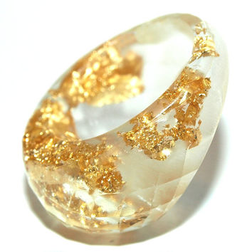 Resin Ring Gold Leaf Faceted, 2015 Jewelry &  Ring Trends, Statement Rings, Gifts for Her, ResinHeavenUSA