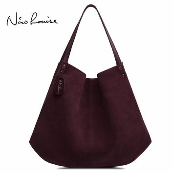 2018 New Women Real Split Suede Leather Hobos Bag Designer Female Leisure Large Shoulder Bags Solid Color Travel Casual Handbag