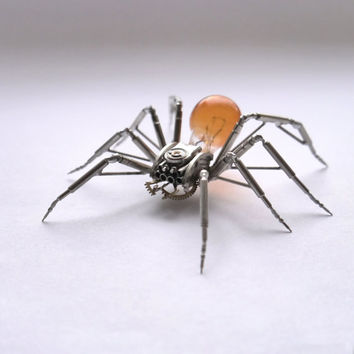 Clockwork Spider Sculpture No 43 Recycled Watch Parts Clockwork Arachnid Figurine Stems Lightbulb Arthropod A Mechanical Mind Gershenson