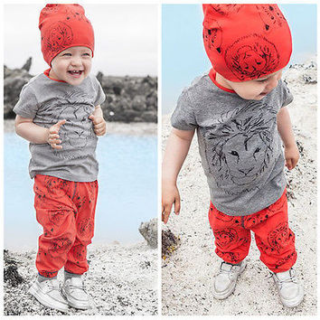 2016 New Fashion Casual Boy Girl Baby Clothes Lion Tops T-shirt 9d245feda1a5