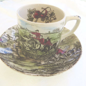 Vintage Johnson Bros Tally Ho Cup and Saucer, Equestrian Demitasse Cup, Hunt Scene Transferware