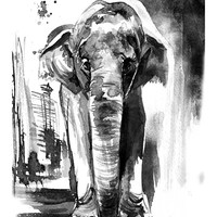 Elephant painting,11x14, elephant print, animal art, african art, ink drawing, elephant gift, black and white print, home decor, wall art