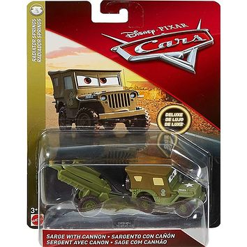Cars 3 Diecast 1:55 Scale Oversized Deluxe Sarge w/ Howitzer Cannon- preorder