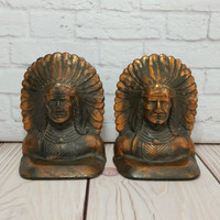 Vintage Indian Head Bookends Copper Finish Native American Library