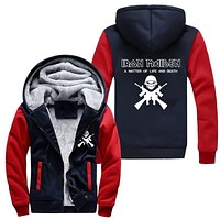Thicken Hoodie Men Women Iron Maiden Zipper Jacket Sweatshirts Coat Clothing Casual