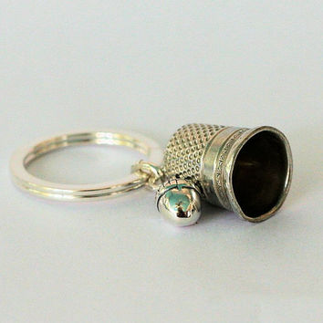 Peter Pan Antique Sterling Silver Thimble and Acorn Hidden Kisses Key Ring - Peter Pan and Wendy