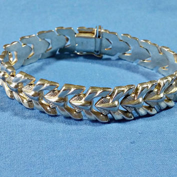 Vintage Milor Italy Silver chain Bracelet Wide Flat Textured Chain Link Italian Sterling 925 Heavy Duty Clasp 7.25 Inch Long Half Inch Wide