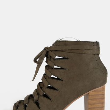 Zig Zag Cut Out Ankle Booties OLIVE | MakeMeChic.COM