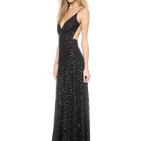 Black Spaghetti Strap Sequined Backless Maxi Dress - Sheinside.com