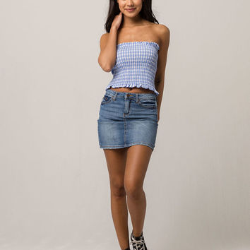 HEART HIPS Light Blue Gingham Womens Tube Top