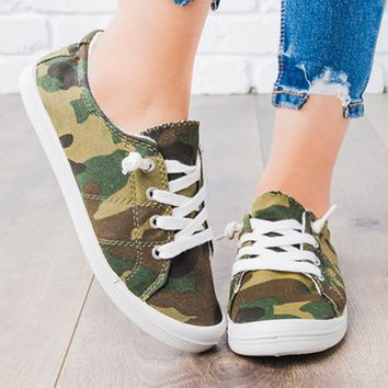 Stylish large denim camo casual single shoes lace-up flats for women