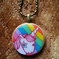 Unicorn Rainbow Magic Beaded Necklace by MyZoetrope on Etsy