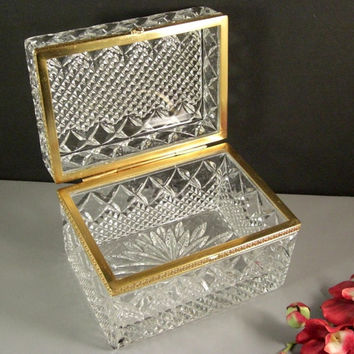 Grand French Cut Crystal Jewelry Casket // Dresser Trinket Box // Hinged with Ormolu Mounts // from Successionary