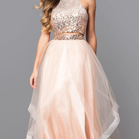 Two-Piece Long Prom Dress with Sequin Halter Top
