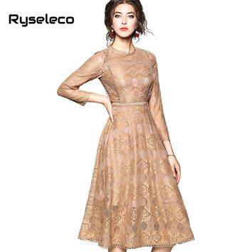 Ryseleco Fashion Spring Quality Floral Lace Patchwork Cutout Elegant Flare Party Dresses Women A-Line Casual Formal Midi Vestido