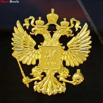 Three Ratels 3D-01# 90*80*5mm Zinc alloy 3D metal golden car sticker  Russian coat of arms