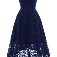 AA| Chicloth Women Floral Lace Bridesmaid Party Dress Short Prom Dress V Neck
