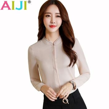 Summer elegant women long sleeve shirt OL career stand collar chiffon blouse tops ladies office business plus size work wear
