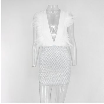Fashion Feathers Sequin Dress