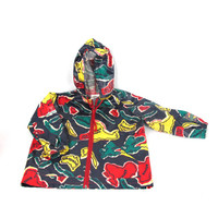 Vintage Kids Rain Jacket  World Map Print Childrens Rain Coat 90s Waterproof Windbreaker (S)