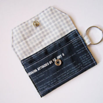 Mini key chain wallet/ simple ID Key chain / Business card holder/ keychain coin purse / navy blue newspaper pattern