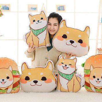 Candice guo! cute plush toy anime Corgi pet Shiba dog head hamburger cushion hand warm pillow birthday Christmas gift 1pc