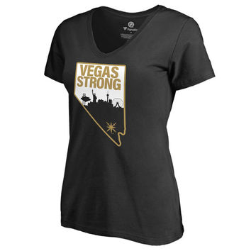 Women's Vegas Golden Knights Fanatics Branded Black Vegas Strong V-Neck T-Shirt